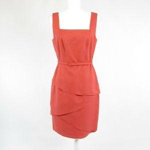 David Meister pink sleeveless tiered dress 8